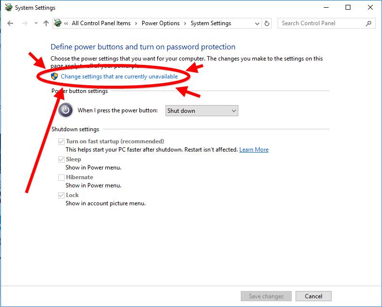 windows 10 hibernate options