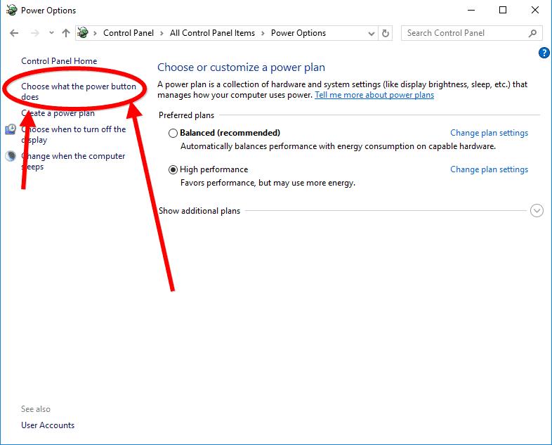 how to show hibernate option in windows 10