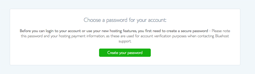 bluehost Choose Password