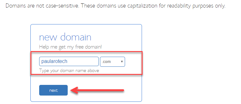 bluehost create another free domain name