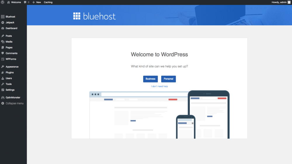 bluehost wordpress business or personal account