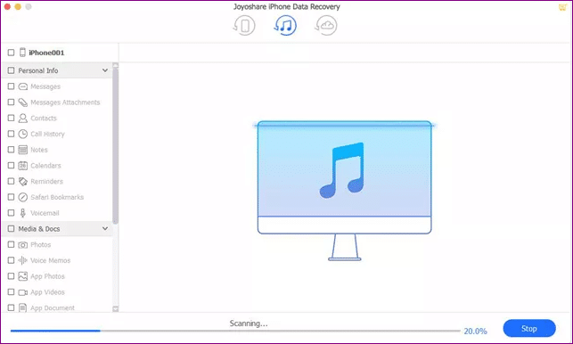 recover iphone files from itunes backup scanning files