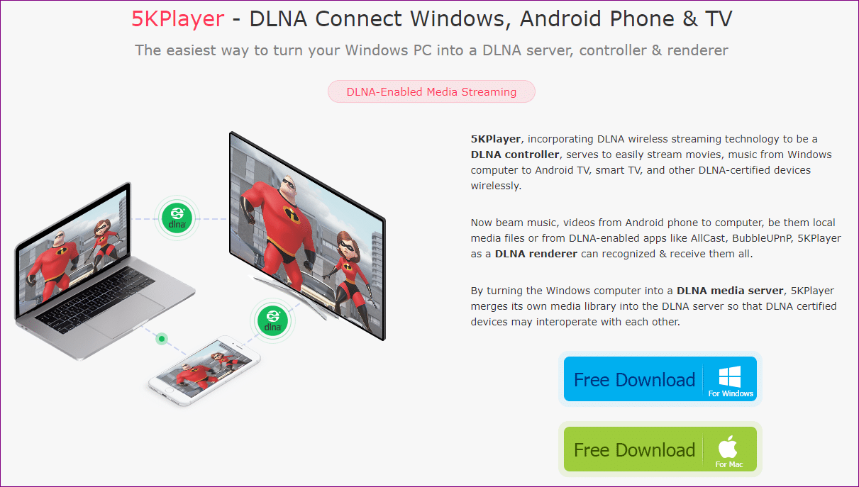 5kplayer DLNA page