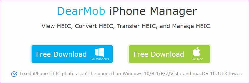 DearMob iPhone Manager convert HEIC