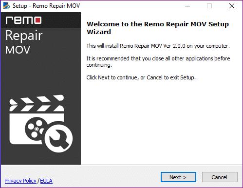 remo repair MOV install