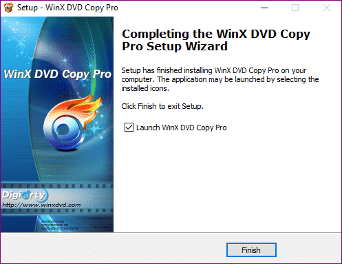 WinX DVD Copy Pro install finished