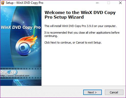 WinX DVD Copy Pro install