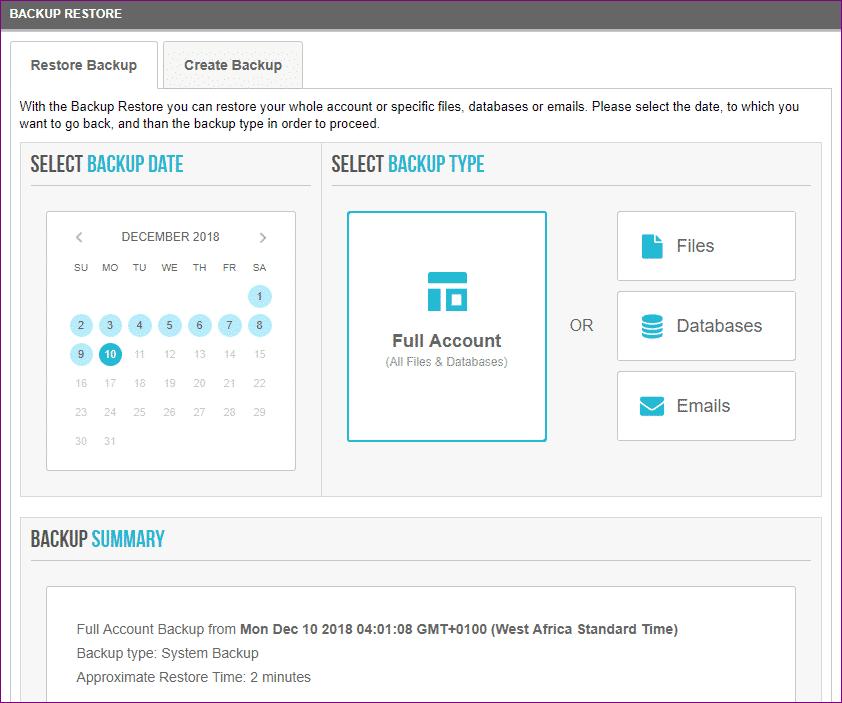 siteground automatic backups