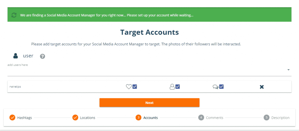 target accounts to get instgram followers