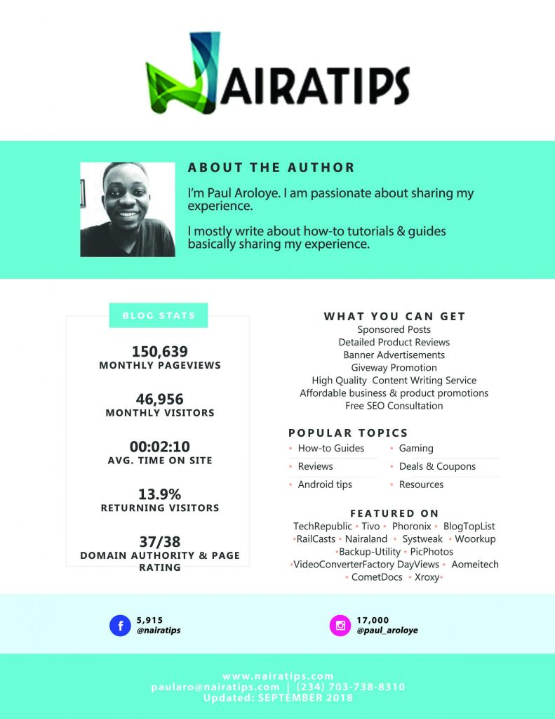 Nairatips March 2019 Media Kit