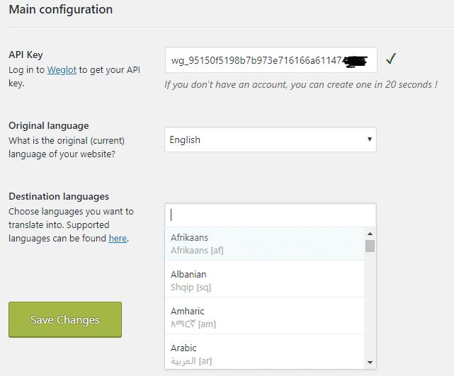 choose language to translate site to