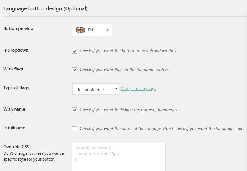 weglot language button design