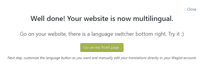 your site is now multilingual