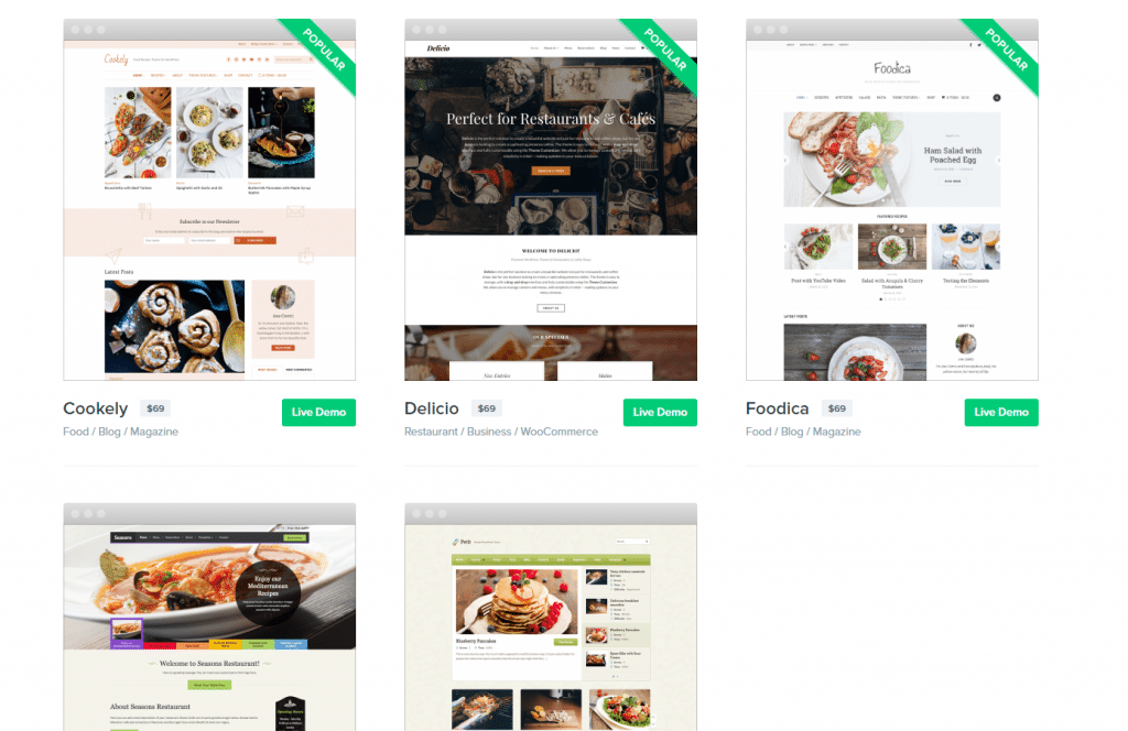 WPZOOM wordpress food themes