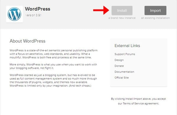 install wordpress on food blog
