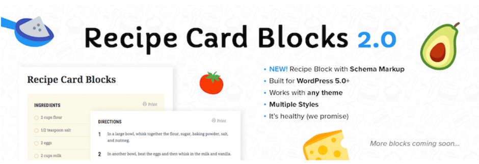 recipe card blocks b y wpzoom food blog plugin