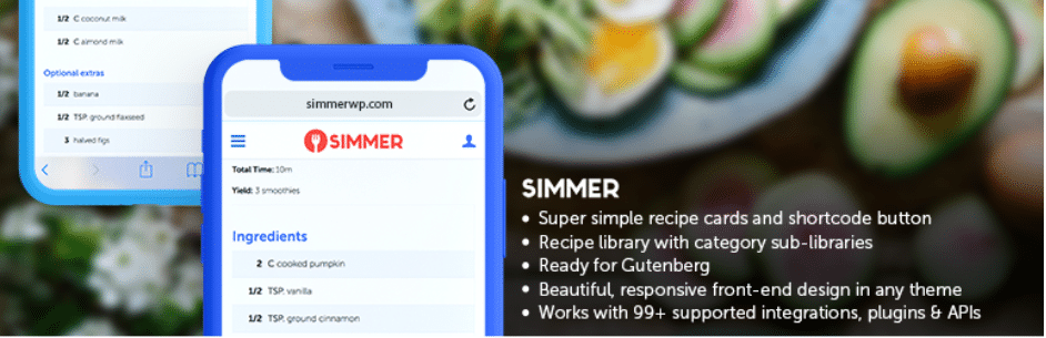 simmer food blog plugin