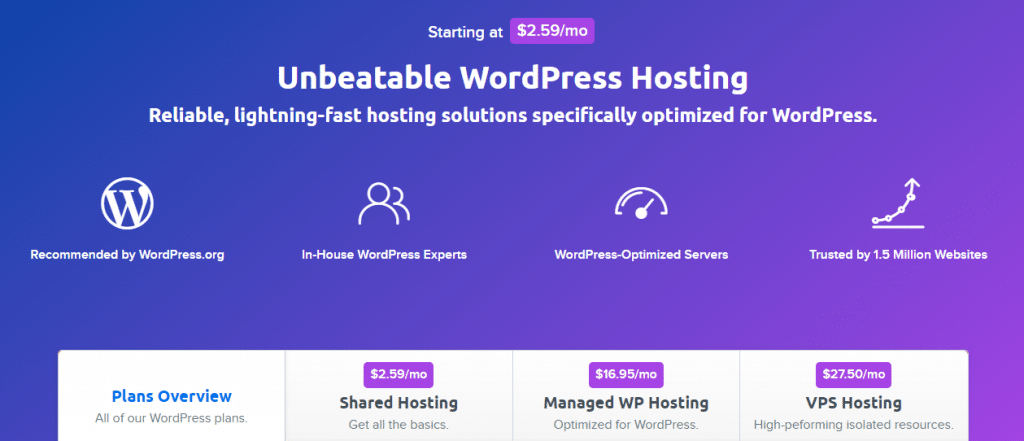 dreamhost wordpress hosting prices for small business