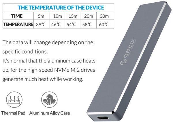 ORICO Aluminum M.2 NVMe SSD Enclosure heat