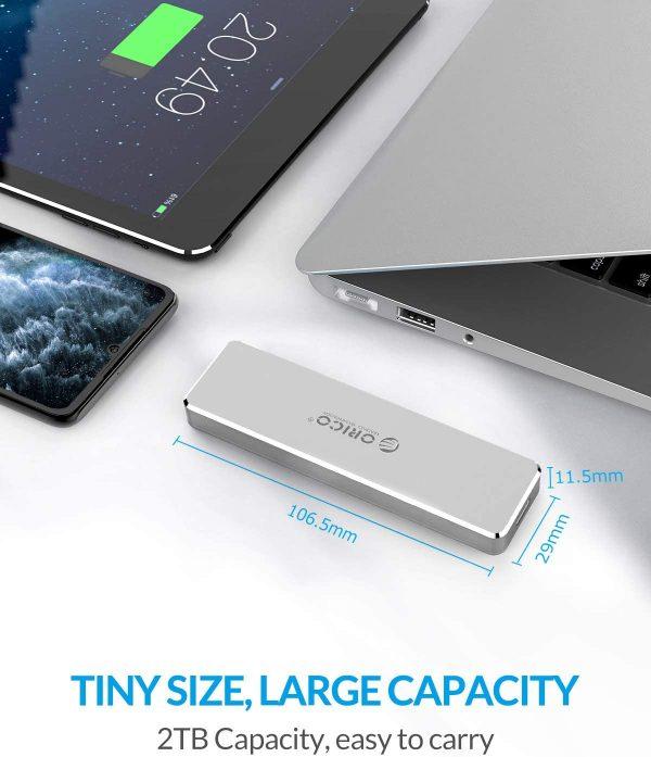 ORICO Aluminum M.2 NVMe SSD Enclosure size
